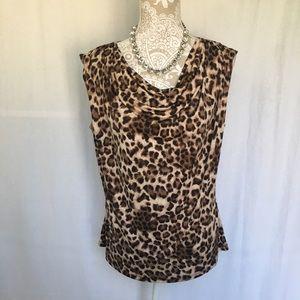 Jennie & Marlis // NWT Leopard Print Cowl Neck Top
